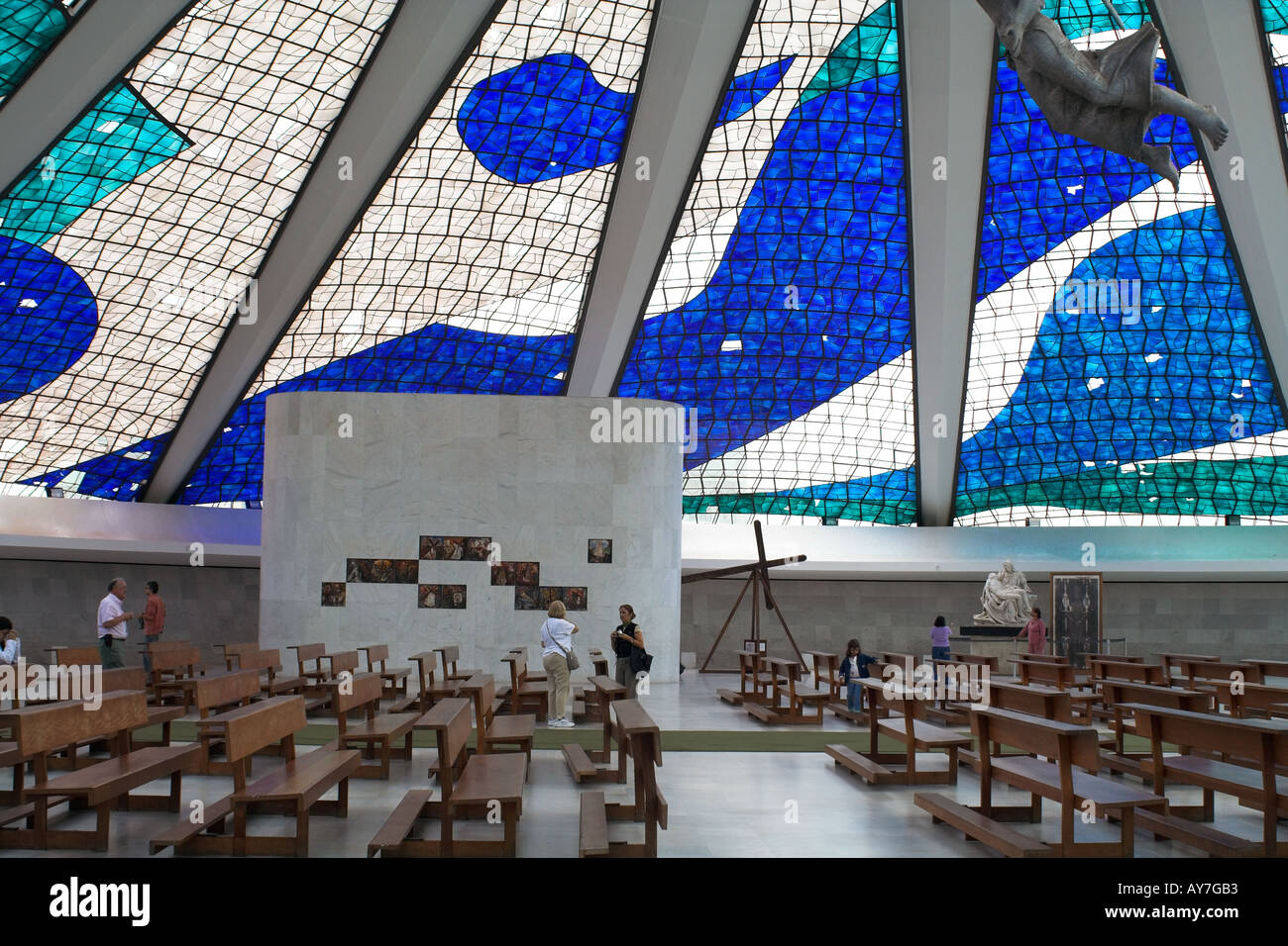 Metropolitan Cathedral Interior Brasilia Brazil Stock Photo