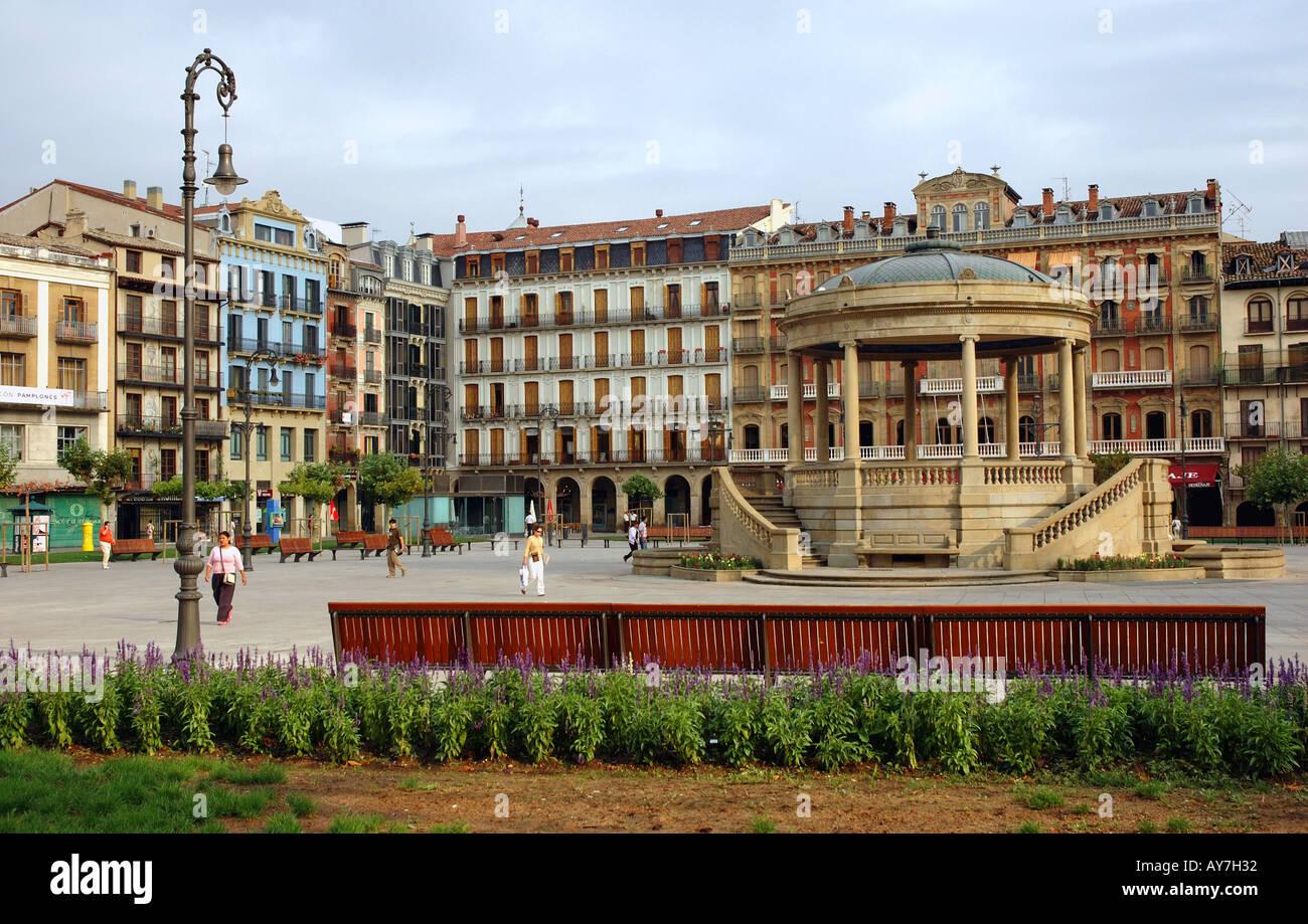 Characteristic Colourful Square with Flowers Pamplona Iruñea Iruña Navarra Navarre Spain Iberia España Europe Stock Photo