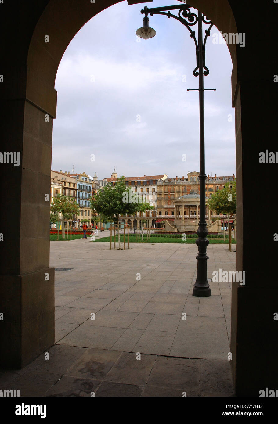 Characteristic Colourful Square from Arch Pamplona Iruñea Iruña Navarra Navarre Spain Iberia España Europe Stock Photo