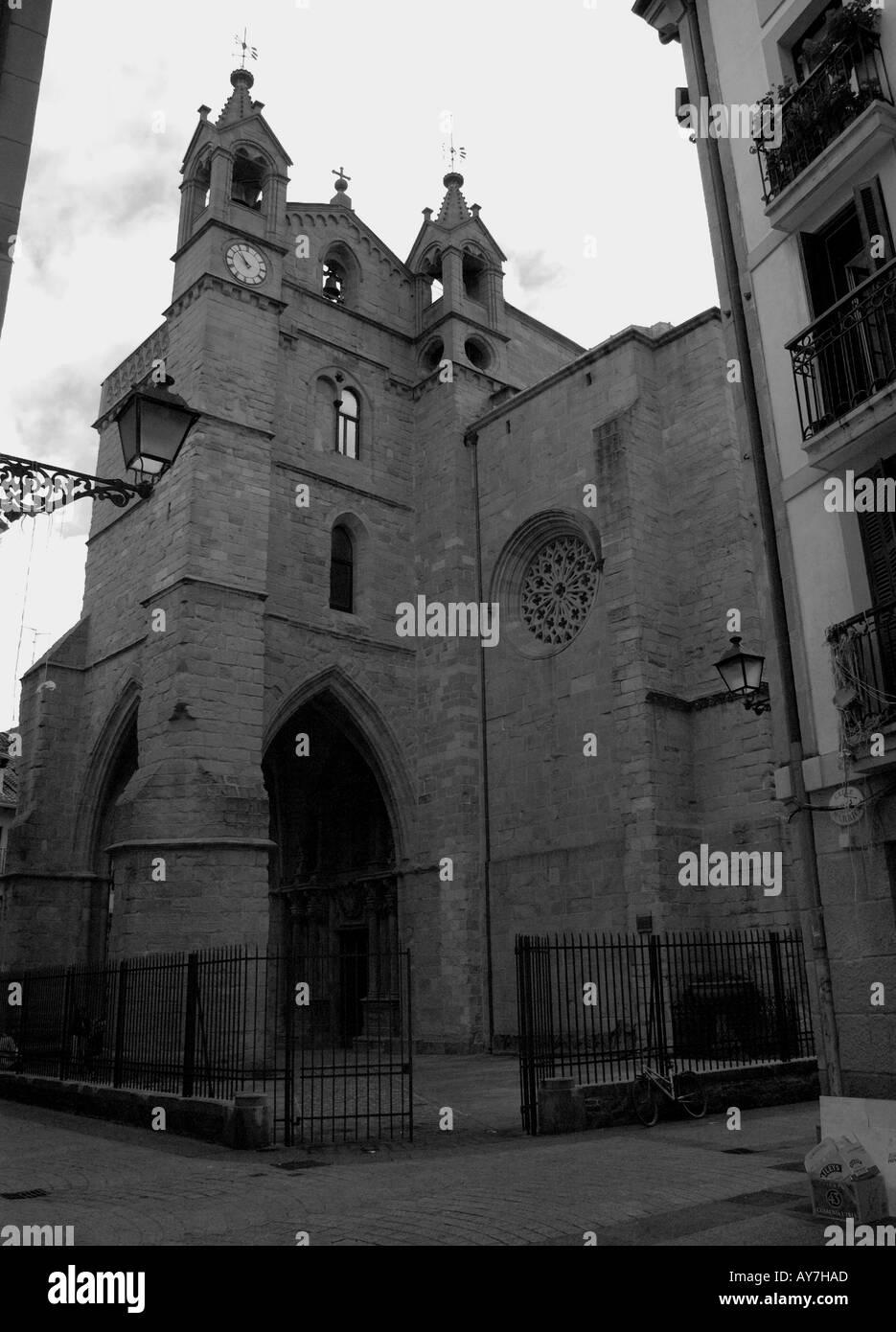 Characteristic Church of Parte Vieja Old Quarter San Sebastian Donostia Basque Country Bay of Biscay Spain España Stock Photo
