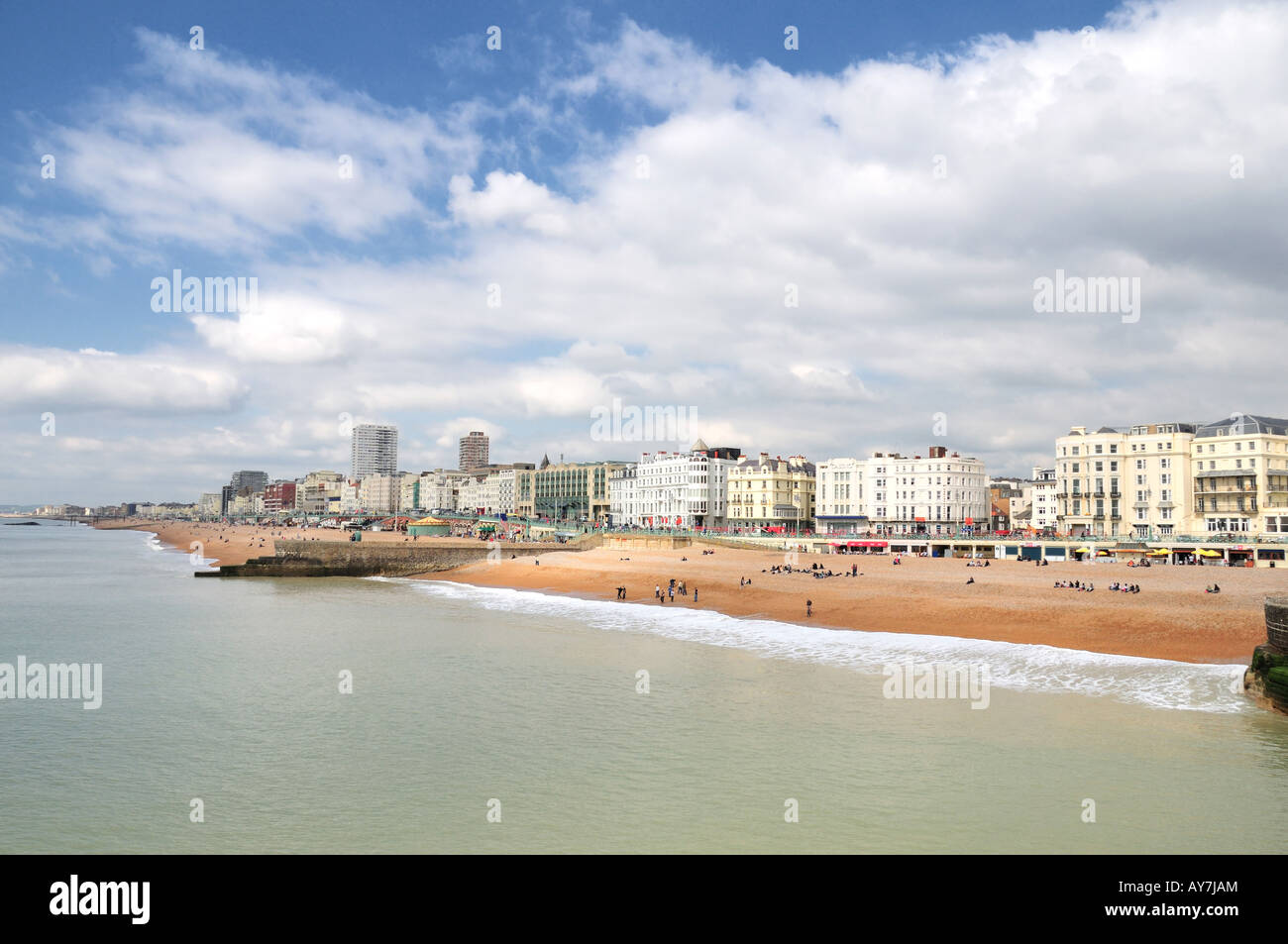 Brighton beach and seafront - a view from the Brighton Pier, East Sussex, England - Stock Image