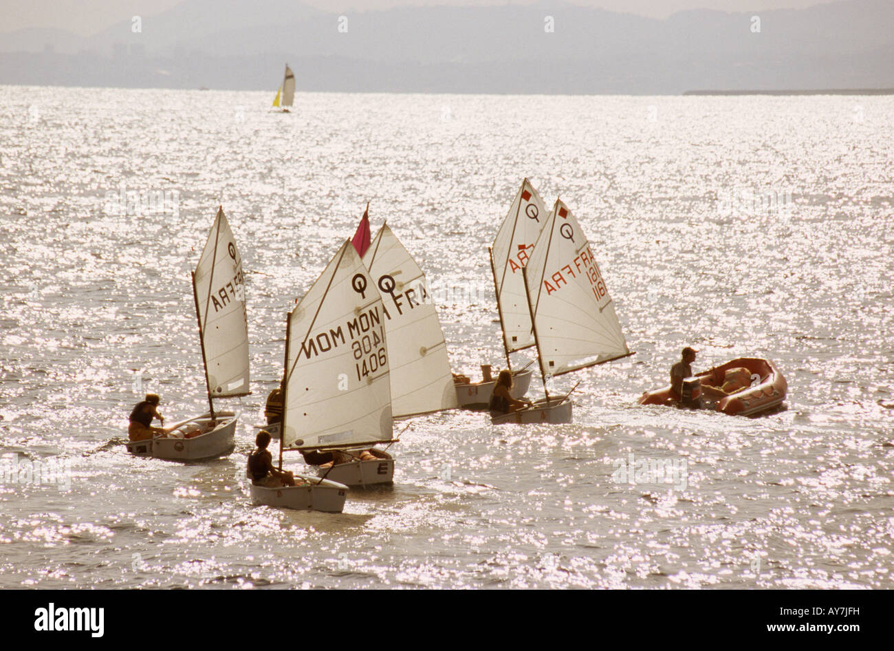 Optimists on the sea Nice France - Stock Image