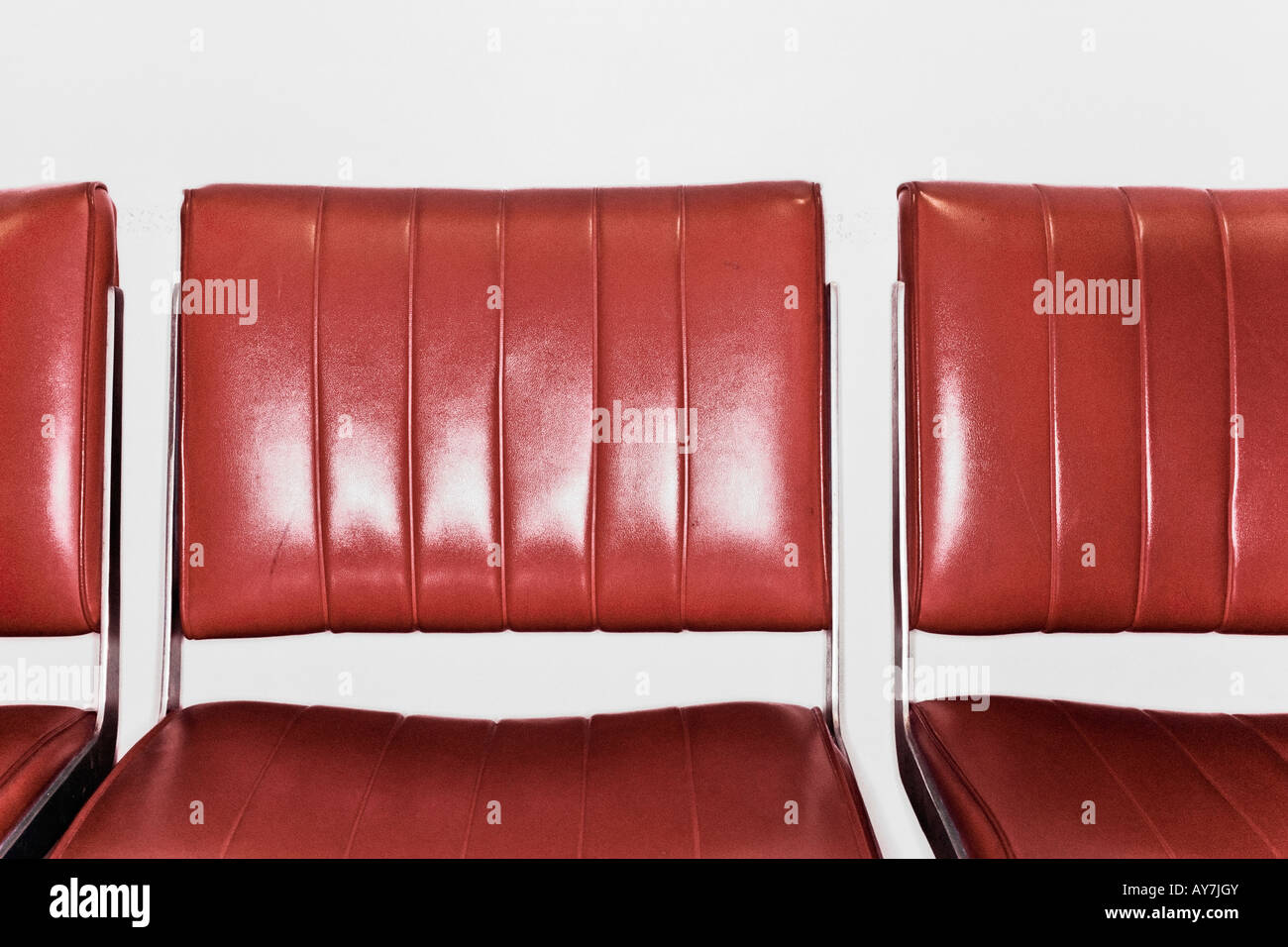 Red Leather Seats Close Up - Stock Image
