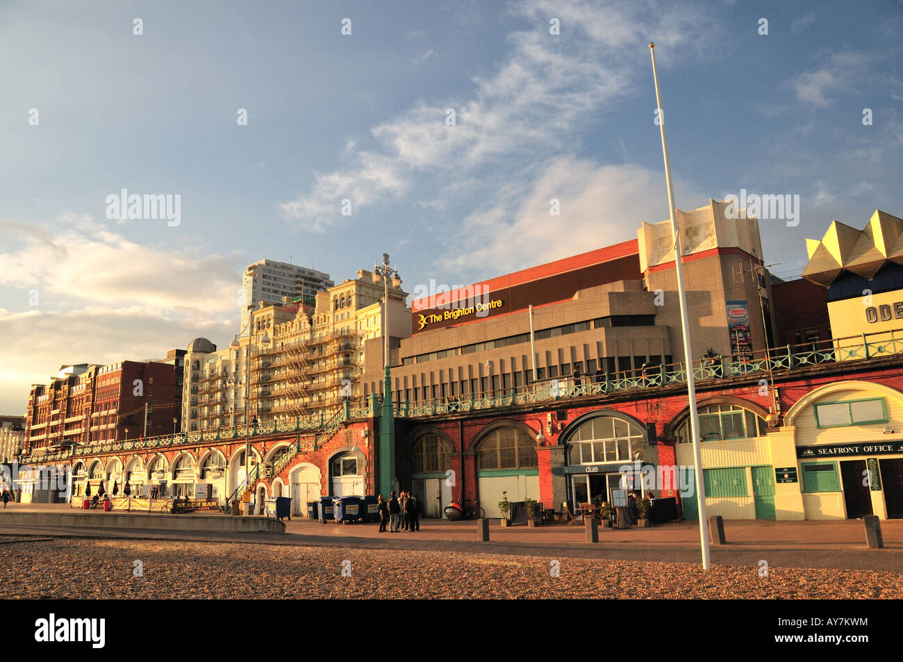 Brighton seafront - the view of the Brighton Centre and the Grand Hotel, East Sussex, England - Stock Image