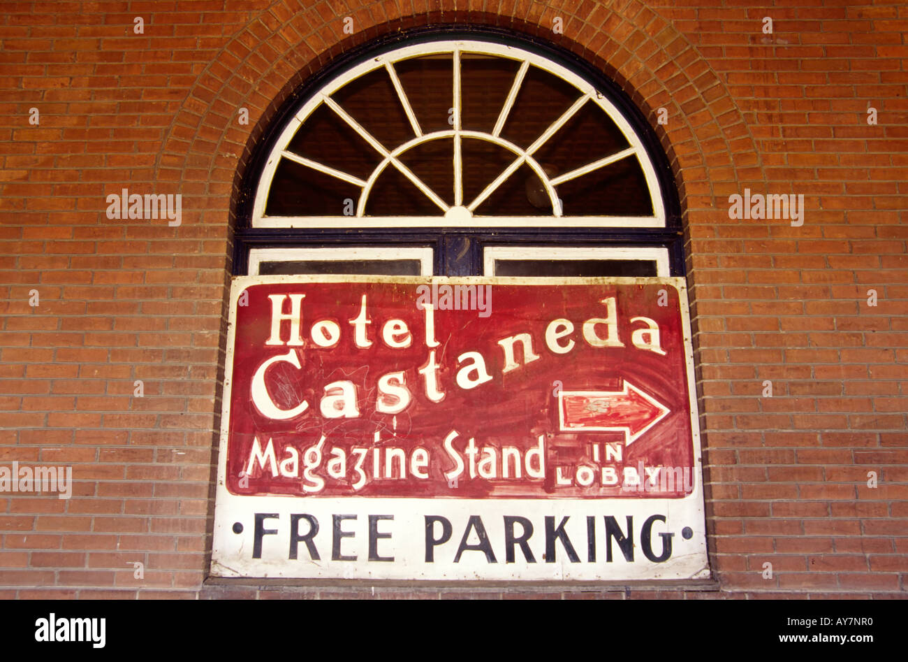 The Santa Fe train once stopped at the Hotel Castaneda, managed by the famous Fred Harvey Girls, in Las Vegas, New Stock Photo