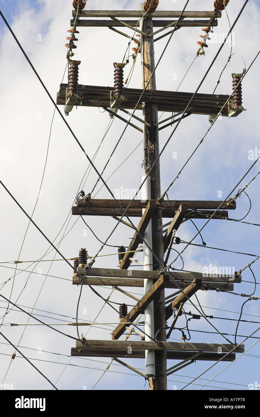 Utility pole crowded with many wires, side view - Stock Image