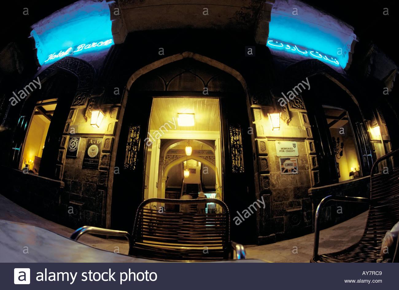 Hotel Baron historical hospitality luxury accomodation travel tourism nostalgia tradition fame Aleppo Syria Middle - Stock Image