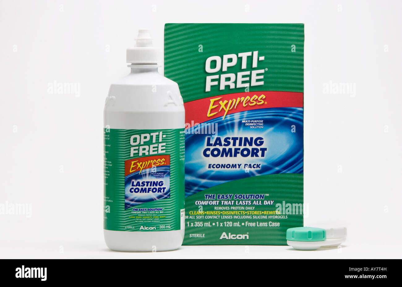 A box of Opti-Free Express contact lens solution alongside a bottle and contact lens storage case.  sc 1 st  Alamy & A box of Opti-Free Express contact lens solution alongside a bottle ...