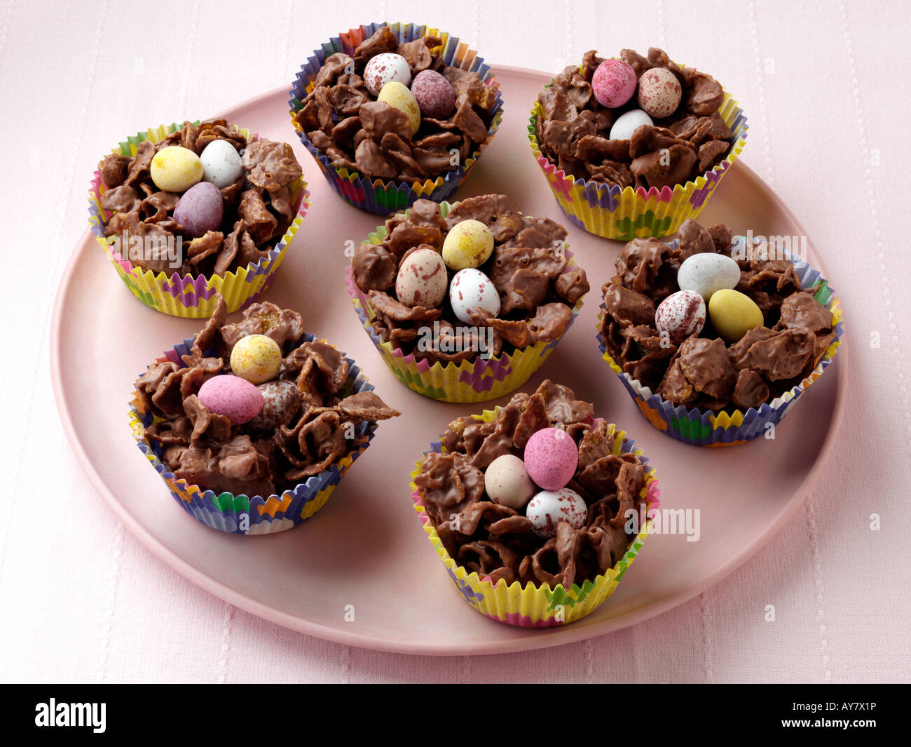Chocolate Easter nests sweets editorial food Stock Photo