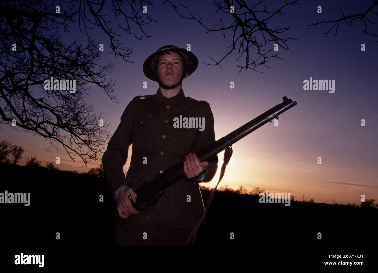 The British army's use of child soldiers was widespread during the First World War - Stock Image