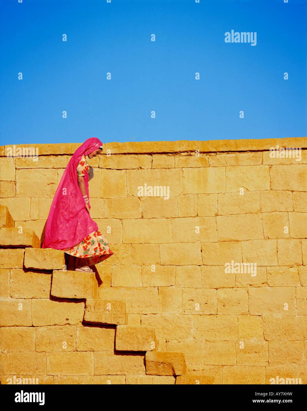 Indian woman, Jaiselmer, Rajasthan, India - Stock Image