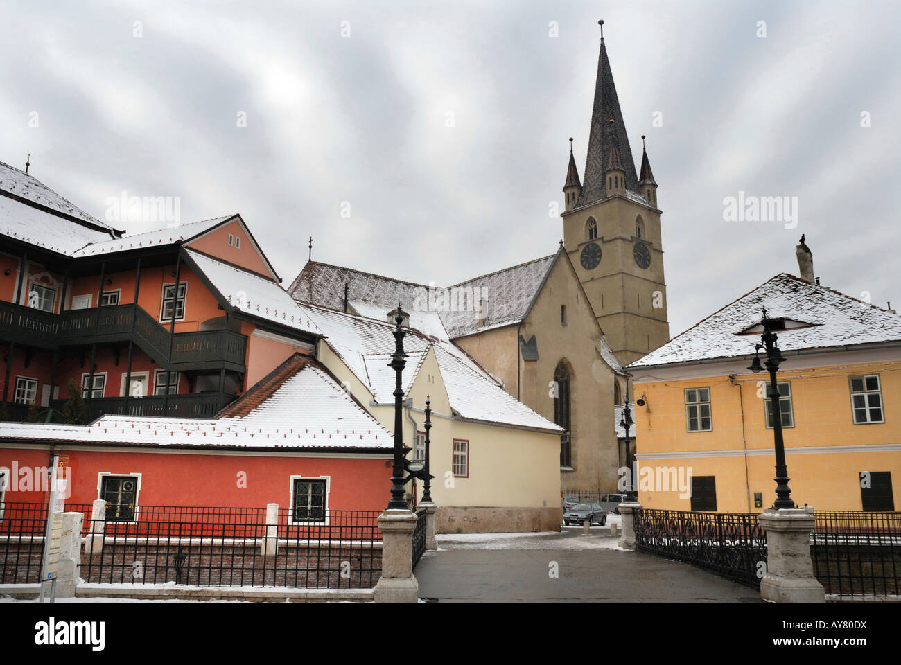 Evangelic Church in Sibiu, viewed from the Bridge of the Lies - Stock Image