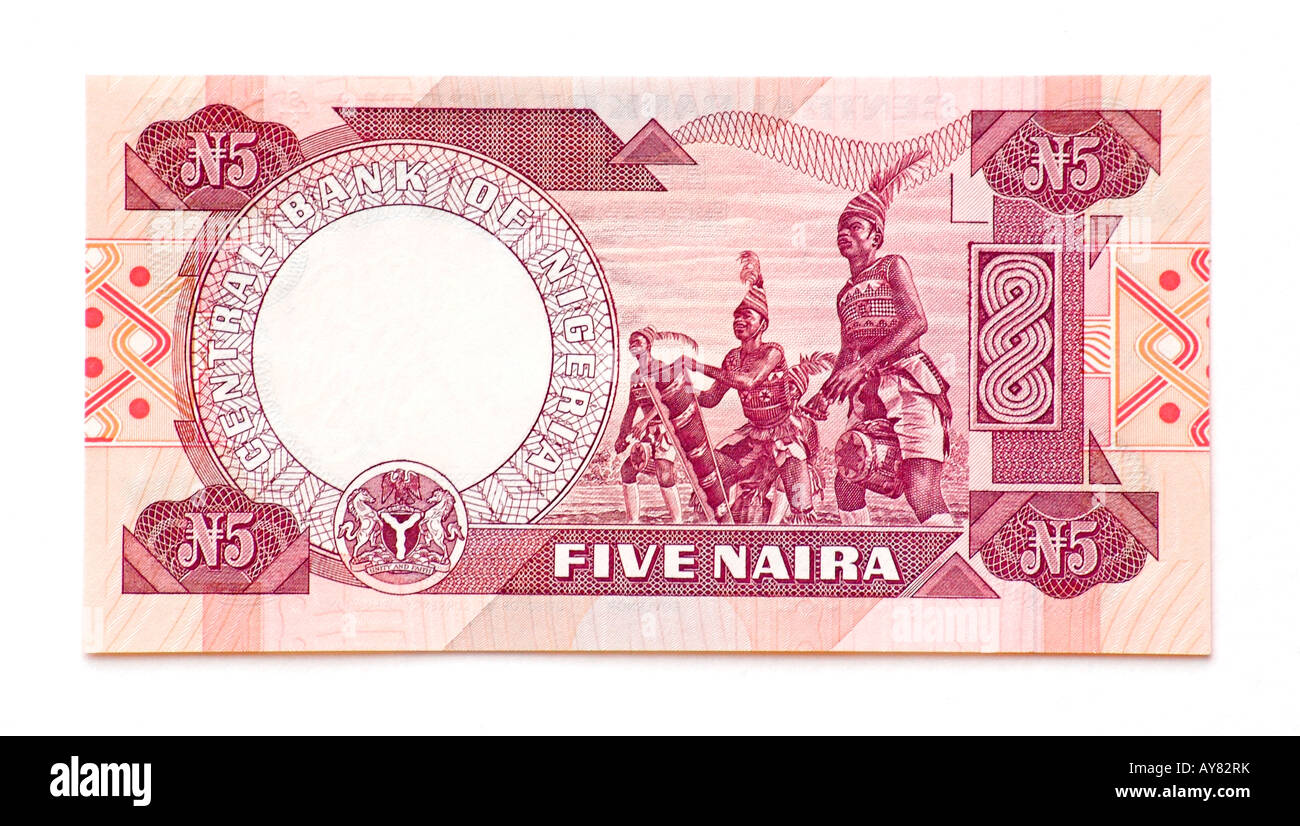 Nigeria 5 Naira bank note - Stock Image