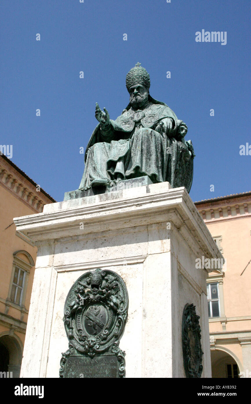 Statue of Pope Sixtus V (1587)in the Piazza Cavour Camerino Le Marche Italy, The Marches ,Piazza,blue sky,strong,dramatic, Stock Photo
