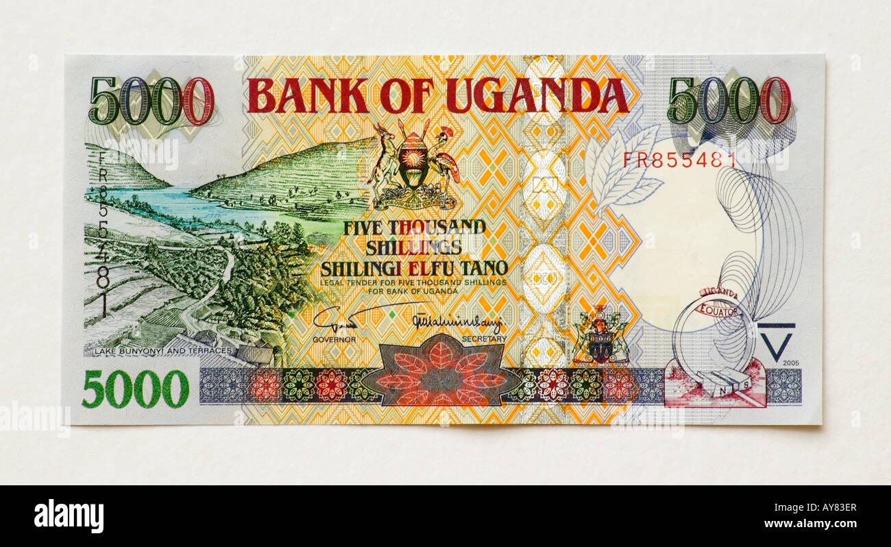 Uganda 5000 Shilling bank note - Stock Image