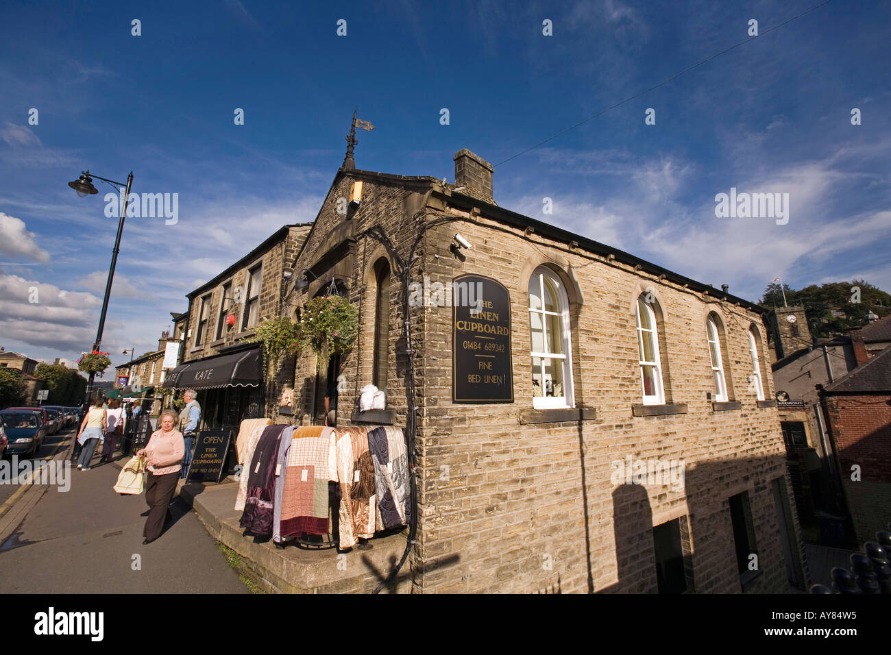 UK Yorkshire Holmfirth town centre Huddersfield Road former chapel converted to bedlinen shop - Stock Image