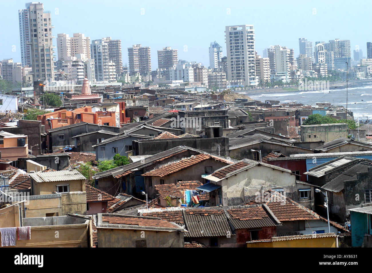 Indian Cityscape Rich Poor Contrast Housing Of Wealthy