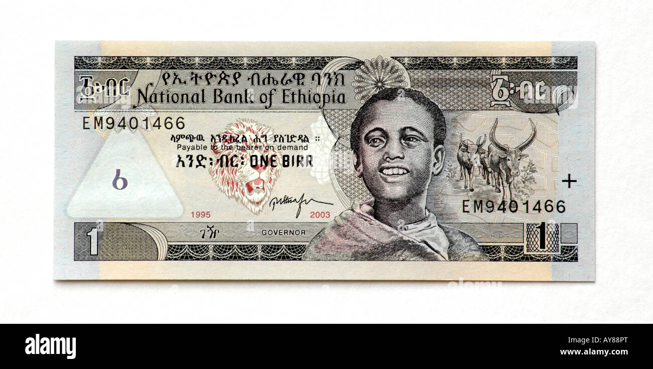 Ethiopia One Birr bank note - Stock Image