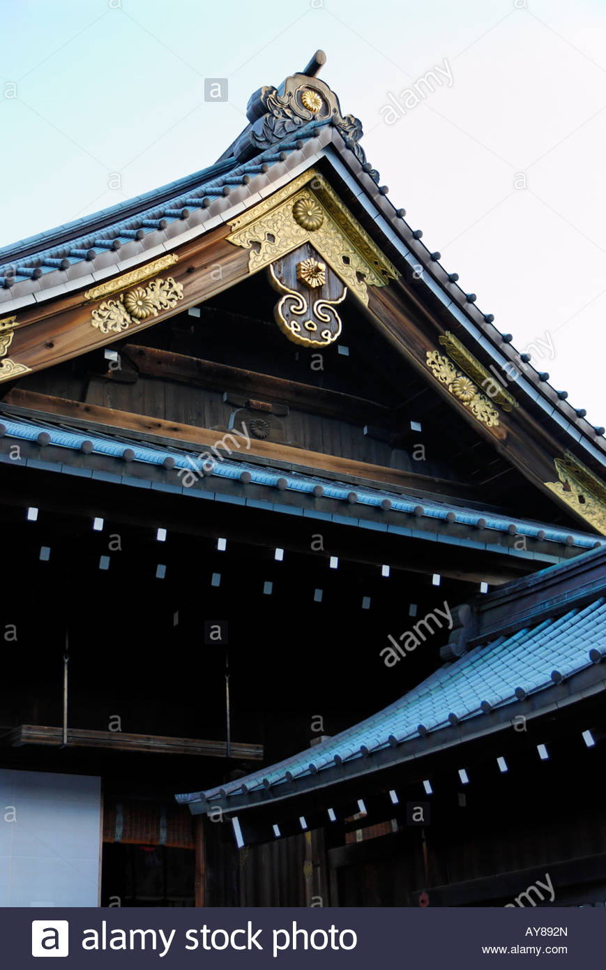 ornamented roof and gable of the Yasukuni Shrine in Tokyo - Stock Image