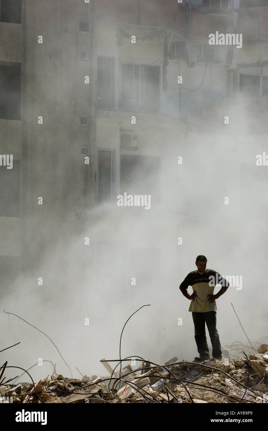 Man standing in war zone Beirut Lebanon Middle East - Stock Image