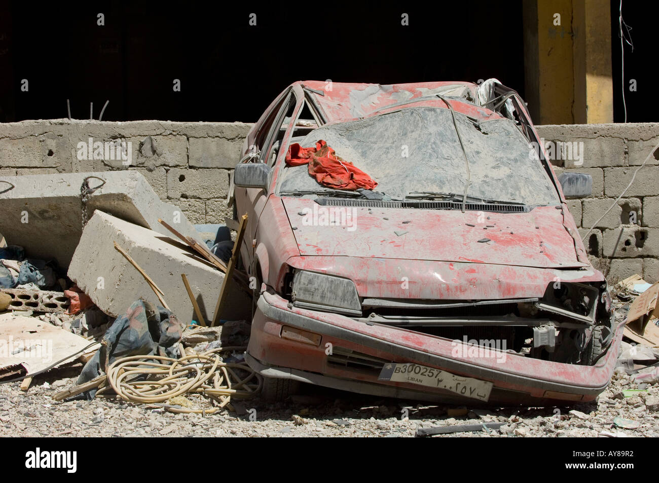 Destruction in war zone Beirut Lebanon Middle East - Stock Image