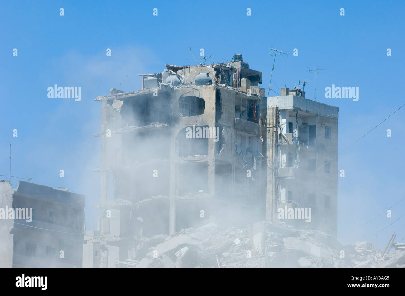 destroyed buildings in the hizbullah area in Beirut Lebanon - Stock Image