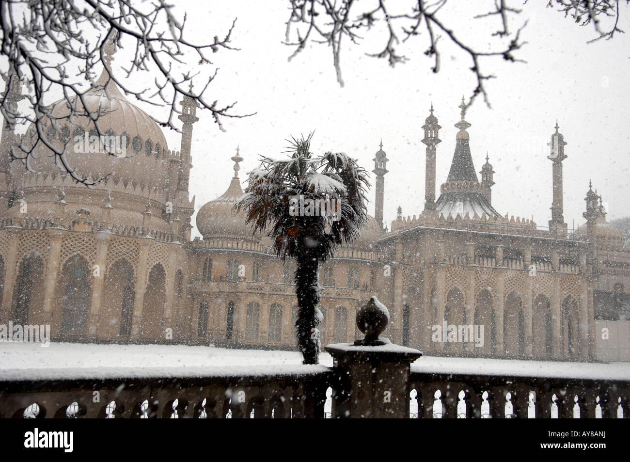 Snow on the Royal Pavilion in Brighton UK Stock Photo