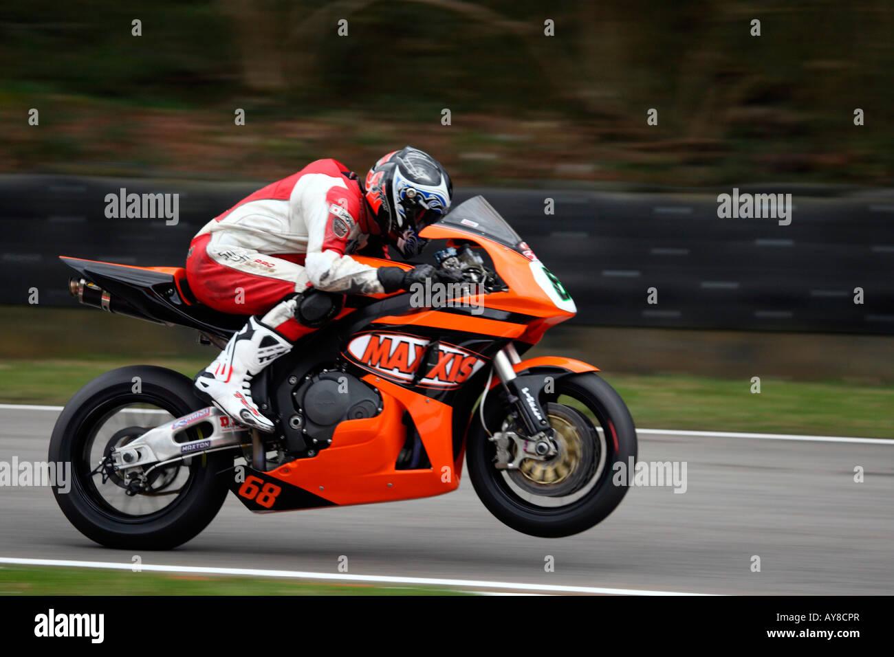 David Johnson British Superbike 2008 Team Maxxis Pulling Wheelie honda CBR1000RR Fireblade - Stock Image