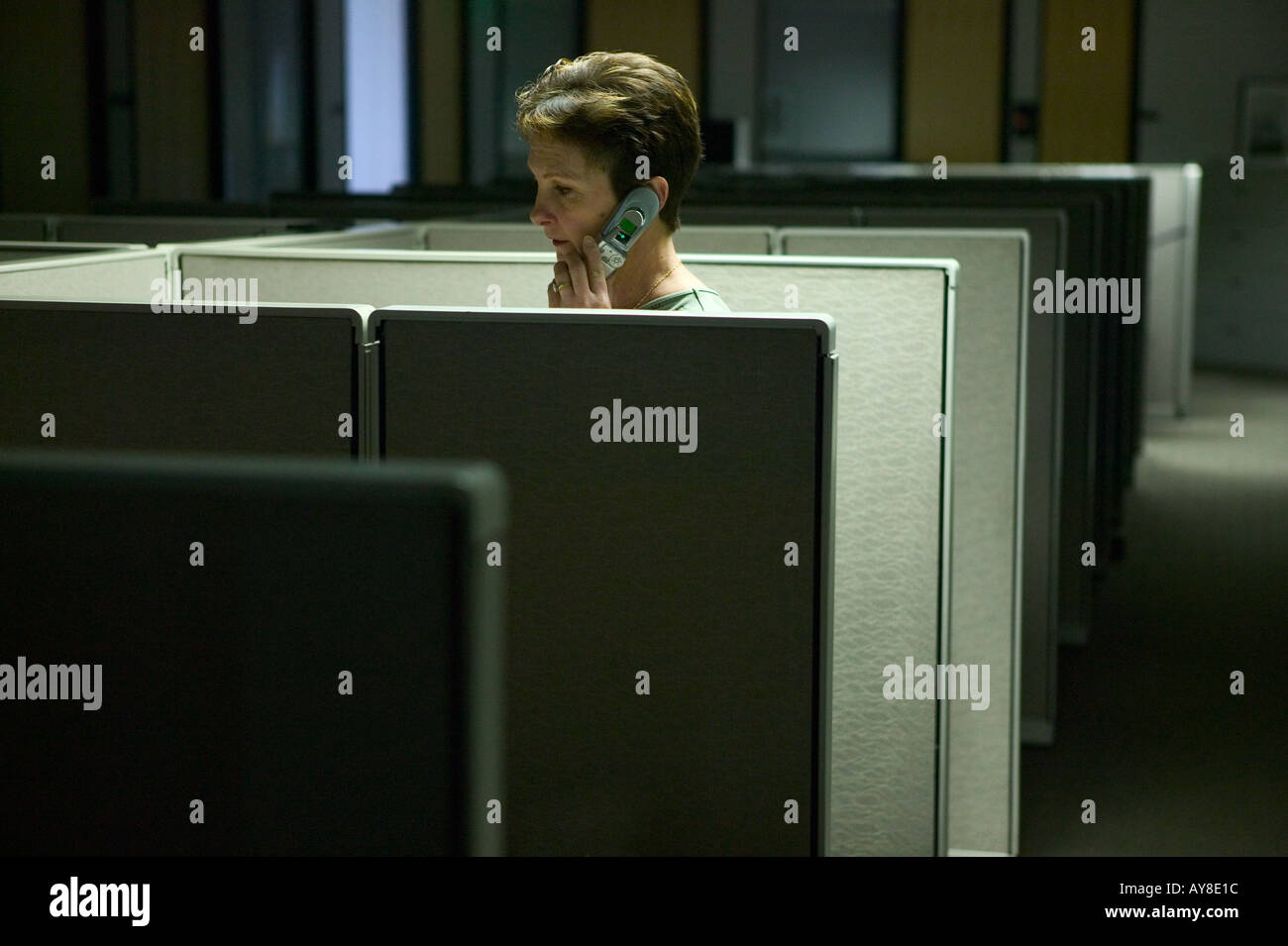 cramped office space. Female Employee On Cell Phone While Working After Hours In Cubicle Office - Stock Image Cramped Space