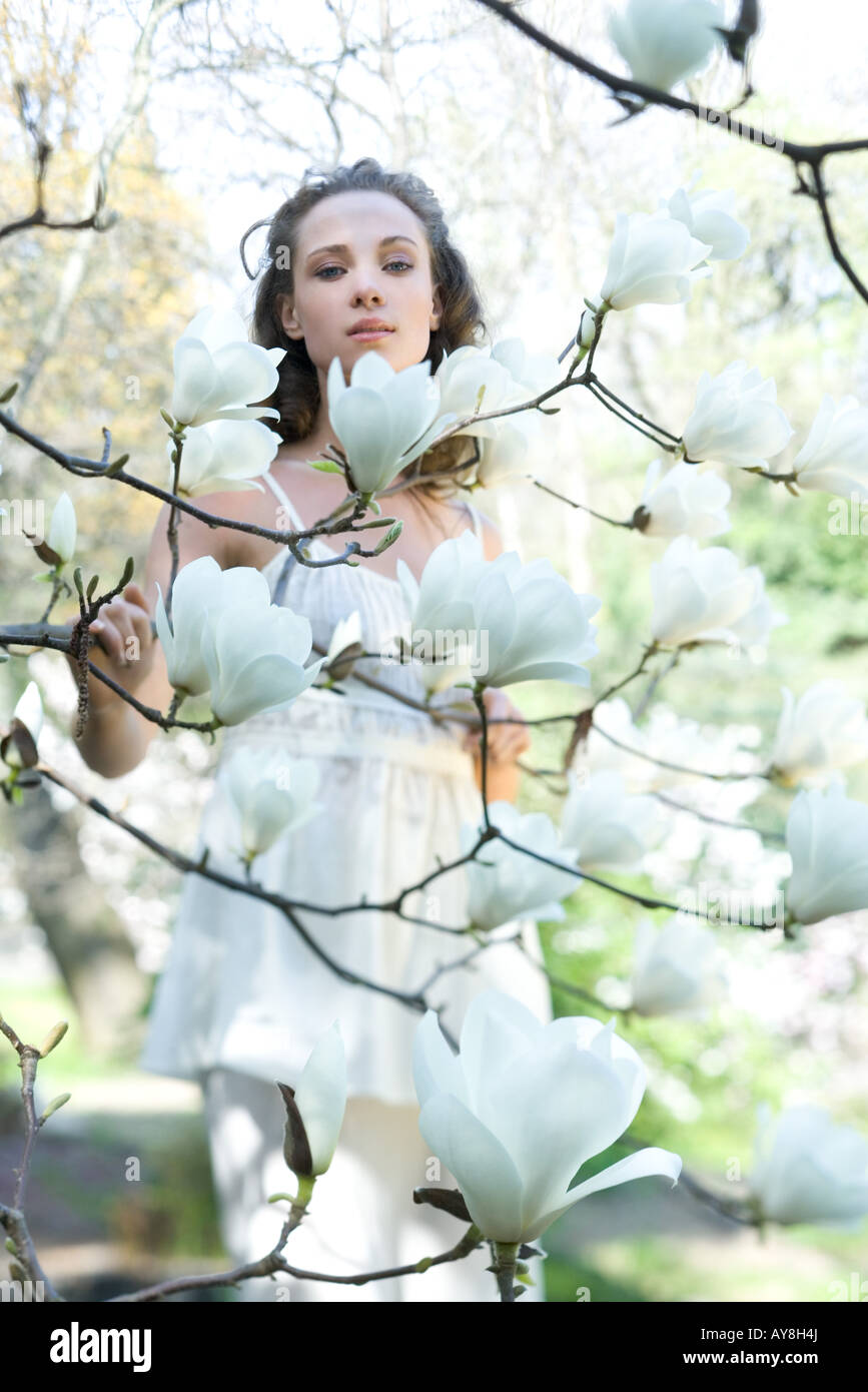 Young woman standing among flowering tree, looking at camera - Stock Image