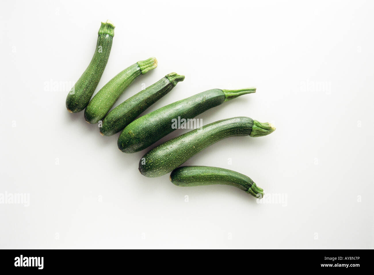 Several zucchinis, high angle view - Stock Image