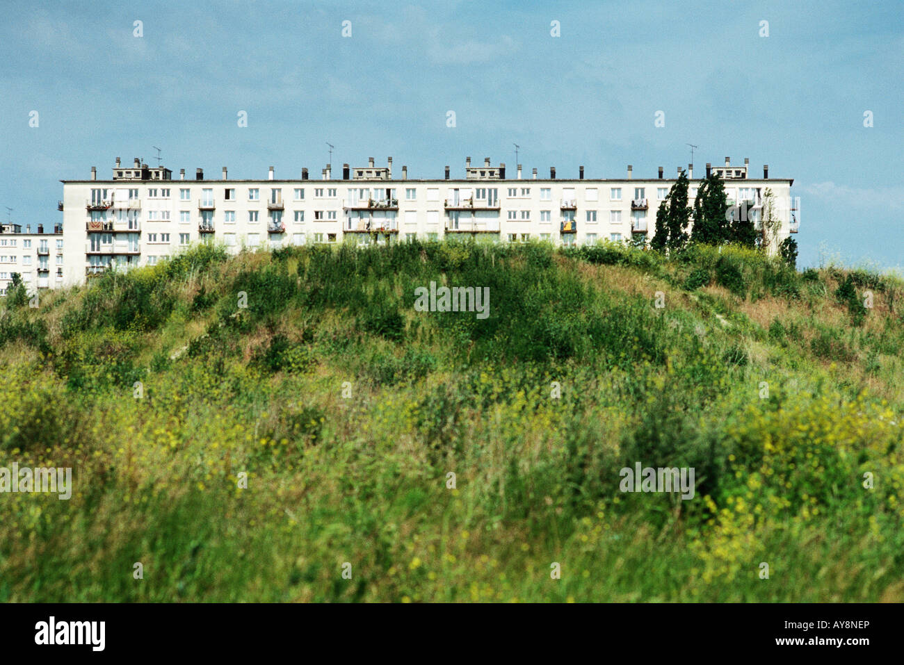 Housing project on hill, Ile-de-France, France Stock Photo