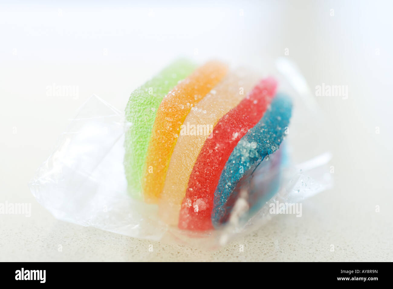 Multicolored gumdrop candy, close-up - Stock Image