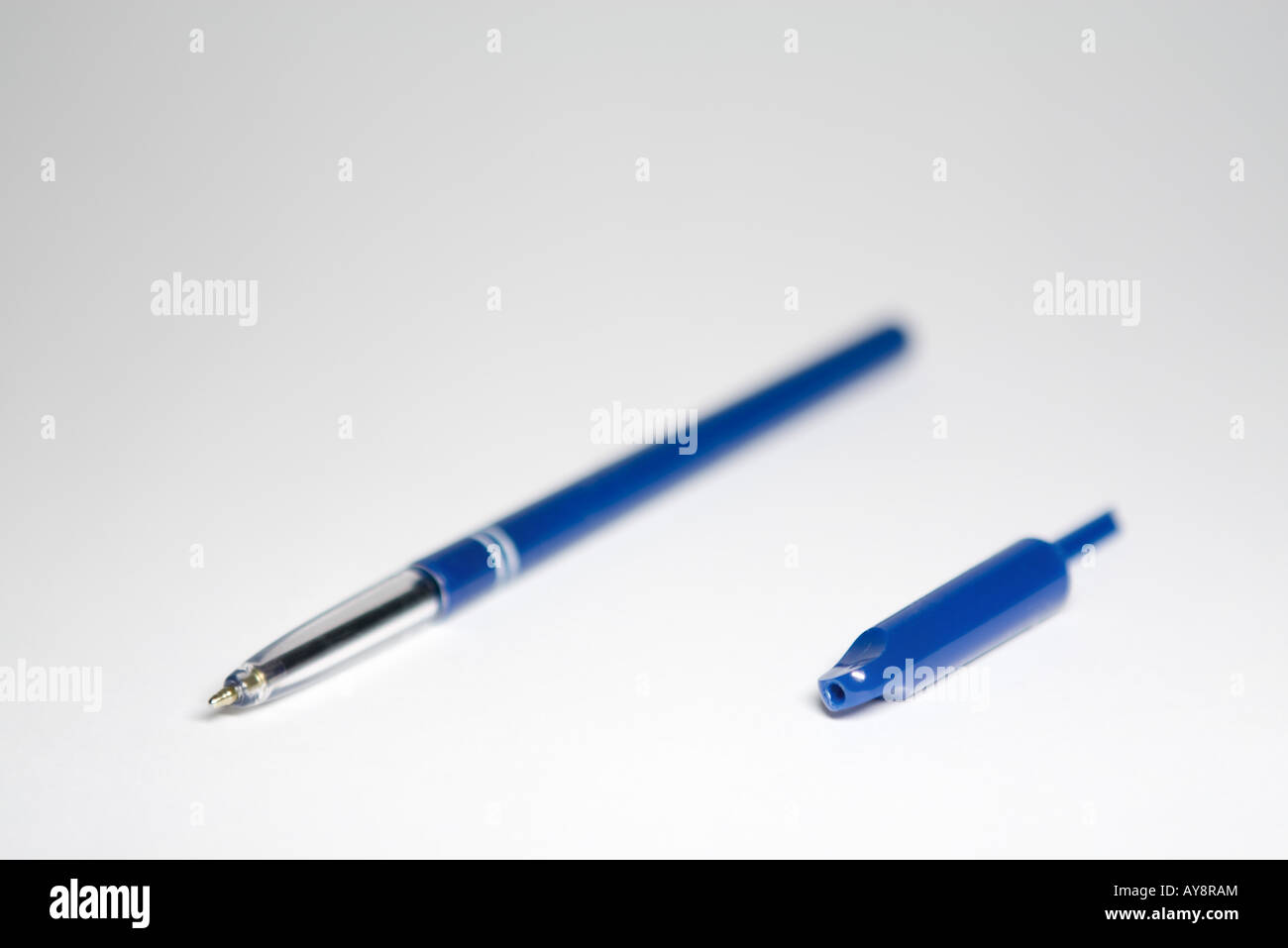 Ballpoint pen with cap removed, close-up - Stock Image
