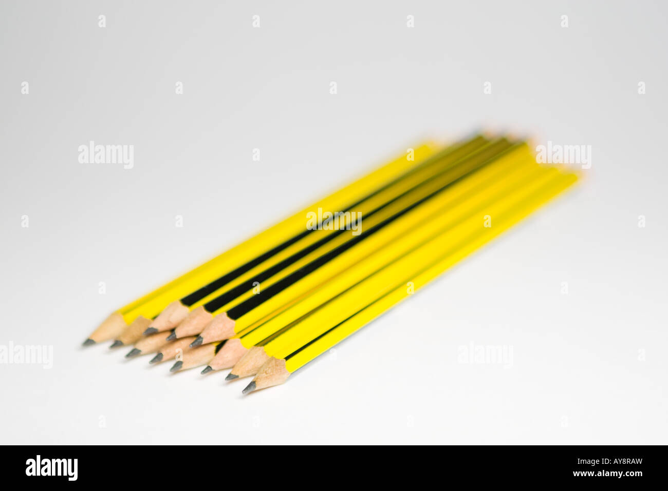 Stacked pencils, close-up - Stock Image