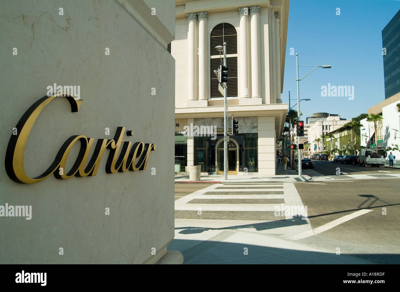 Beverly Hills California, shop, shops, department, stores, Rodeo drive, Luxury shopping, Cartier sign - Stock Image
