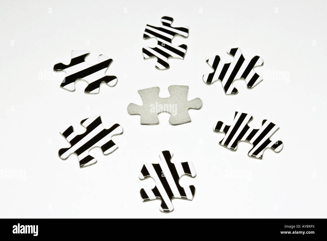 Jigsaw puzzle pieces, close-up - Stock Image