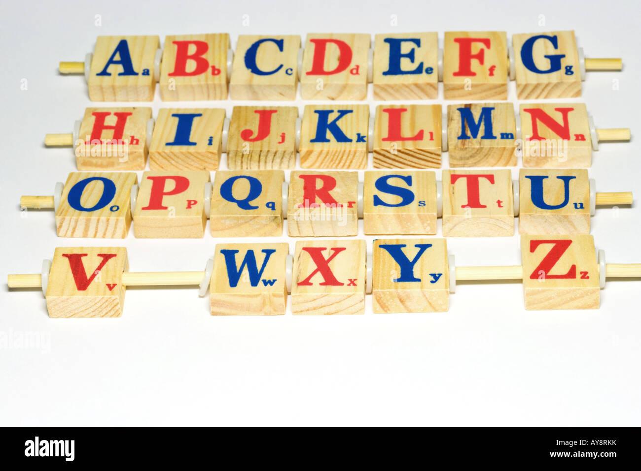 Wooden alphabet blocks, close-up - Stock Image