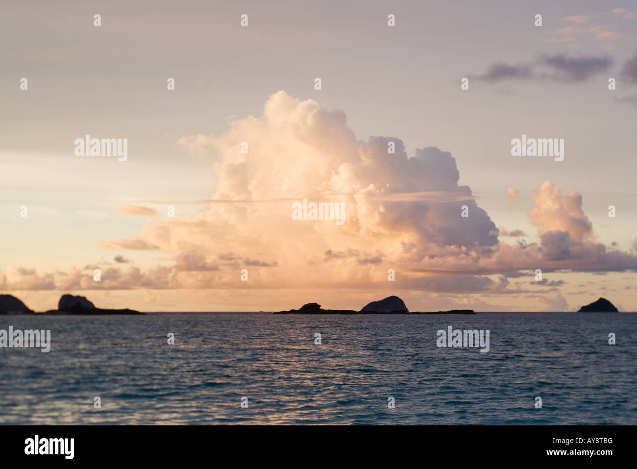 Seascape with cumulonimbus cloud, sunset Stock Photo