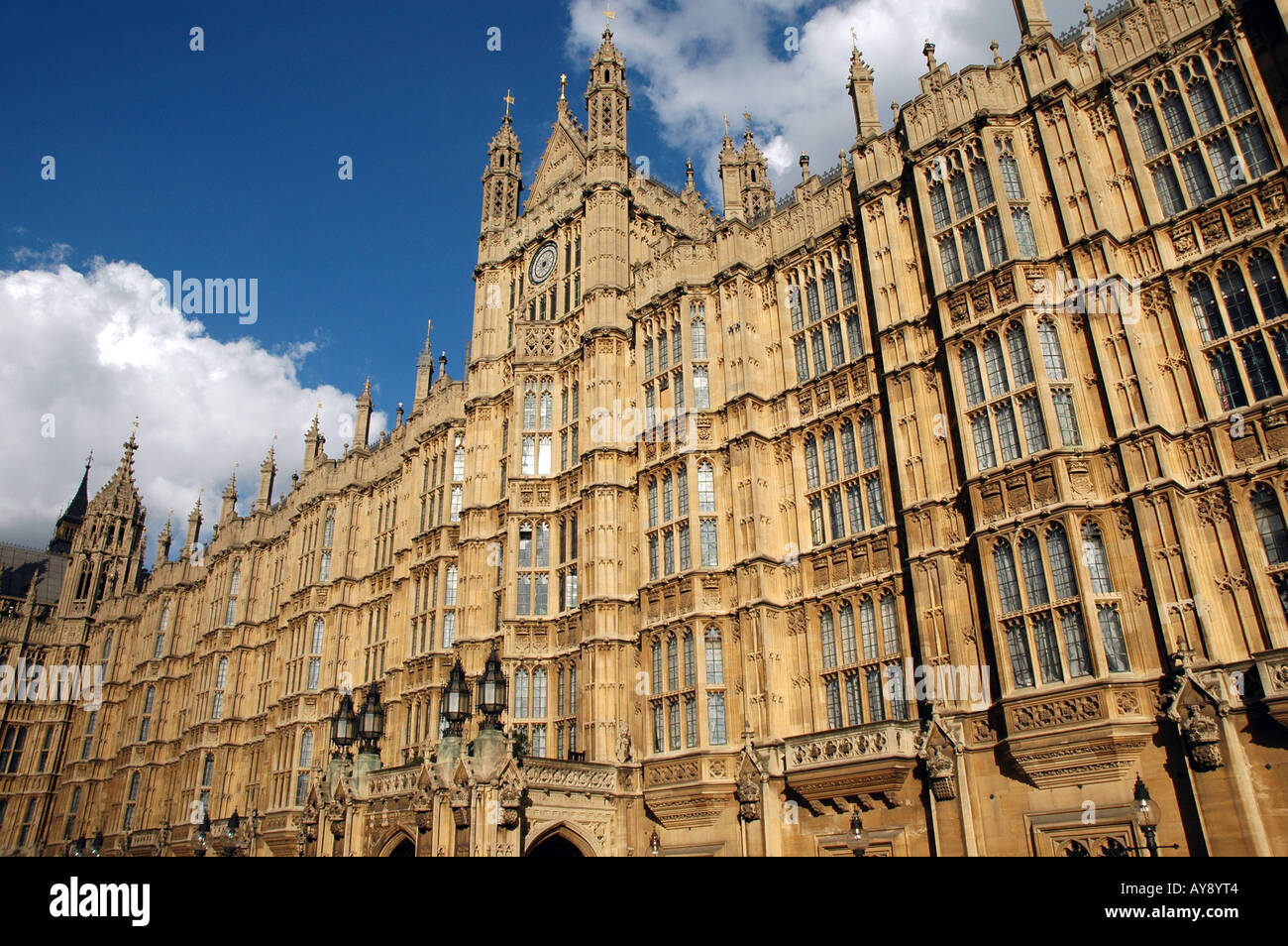 Palace of Westminster also called Houses of Parliament or Westminster Palace in London, UK - Stock Image