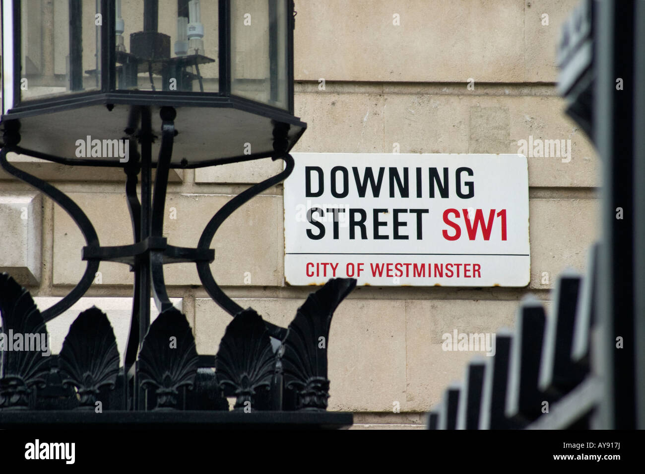 Downing Street Sign, Westminster, London - Stock Image