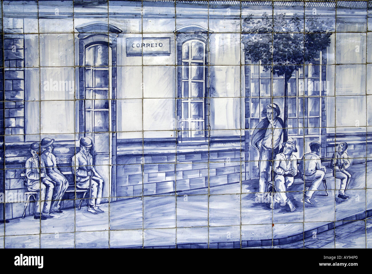 Panel of blue ceramic tiles (\