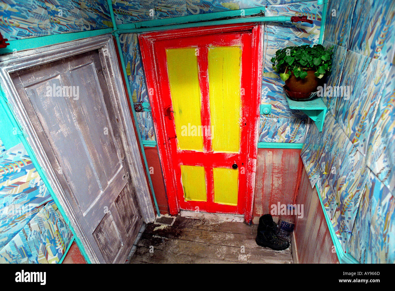 Stairwell at Agnes Place Squat in Kennington South London. Stock Photo