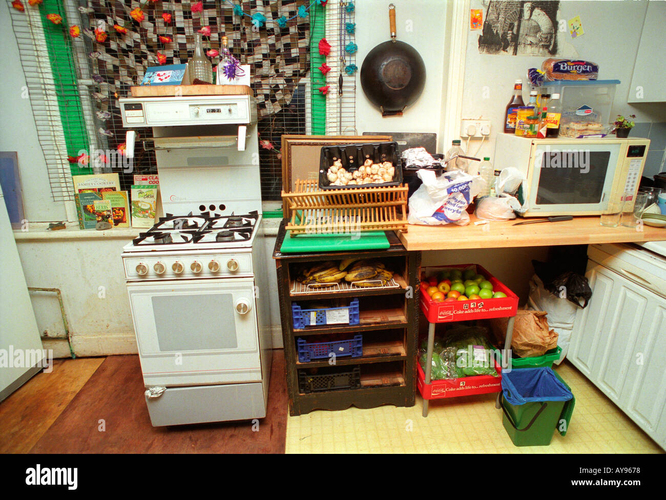 Kitchen at St Agnes Place squat in South London. Stock Photo