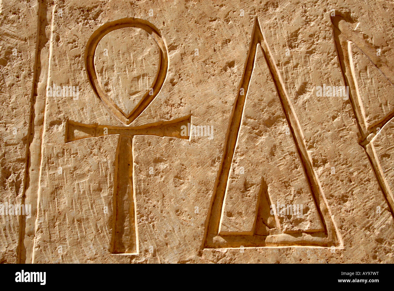 Carvings of hieroglyphs at Karnak Temple, Luxor, Egypt - Stock Image