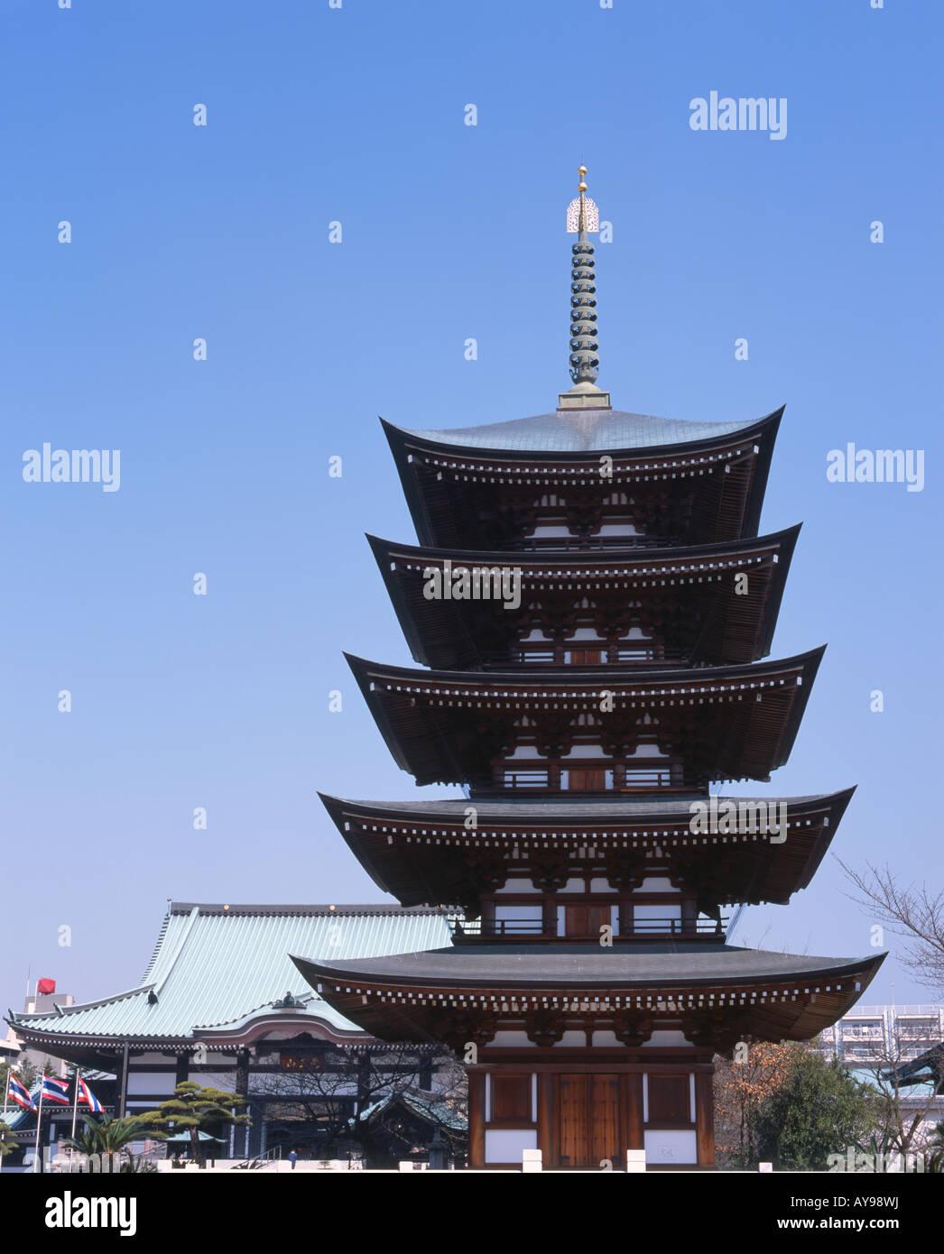 Five story pagoda of Nittaiji Temple, Nagoya - Stock Image