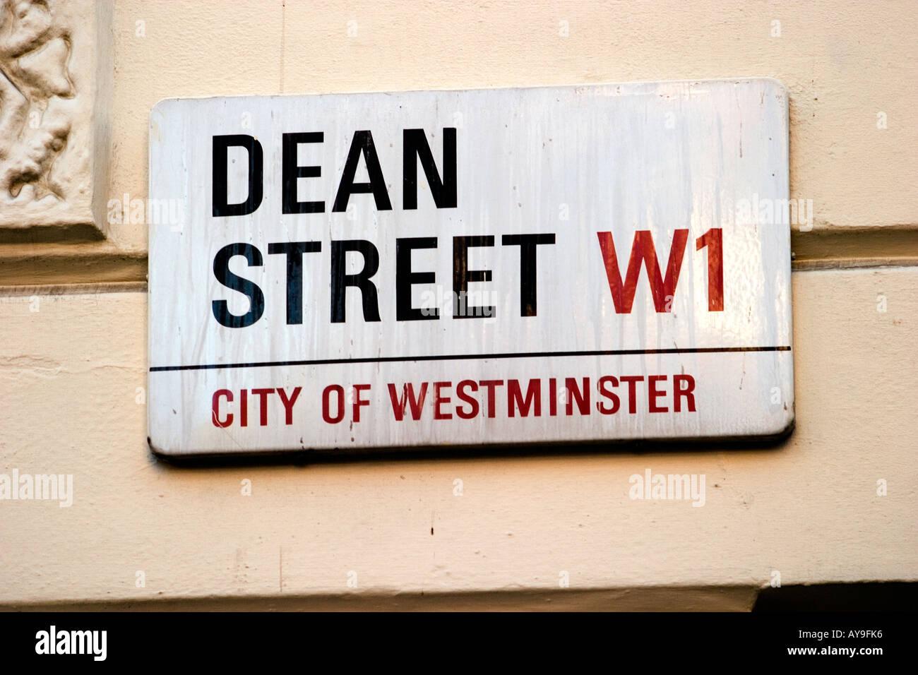 dean street street sign street london - Stock Image