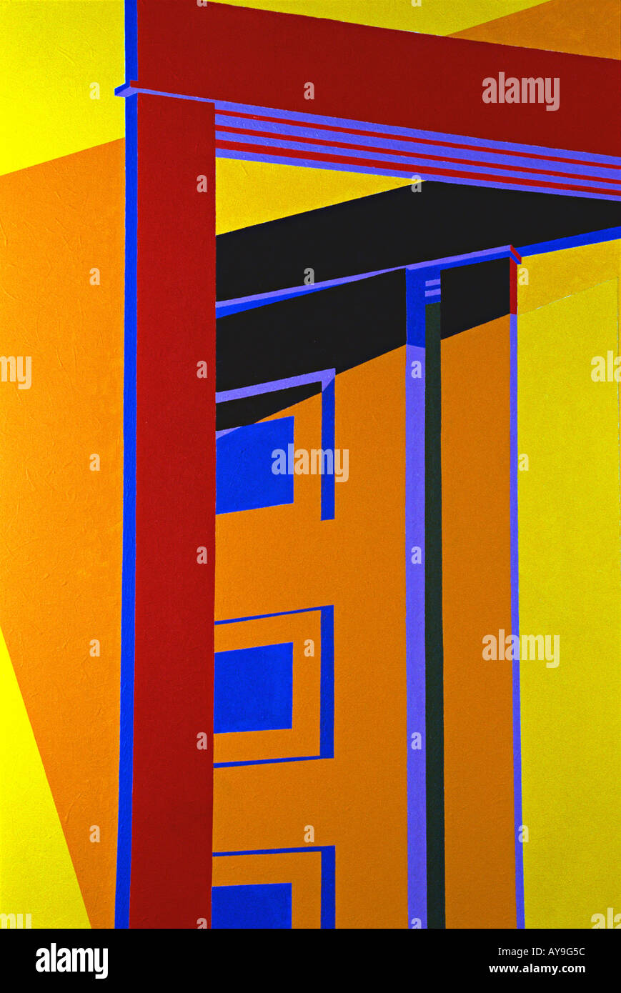Abstract close up of painting in primary colors of red, blue, green, yellow lines forming squares rectangles and Stock Photo