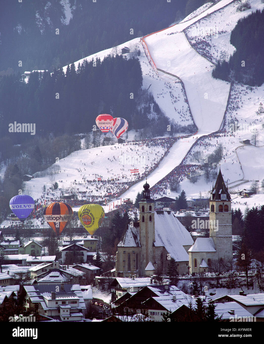 DOWNHILL SKIING COMPETITION KITZBUEHEL, AUSTRIA - Stock Image