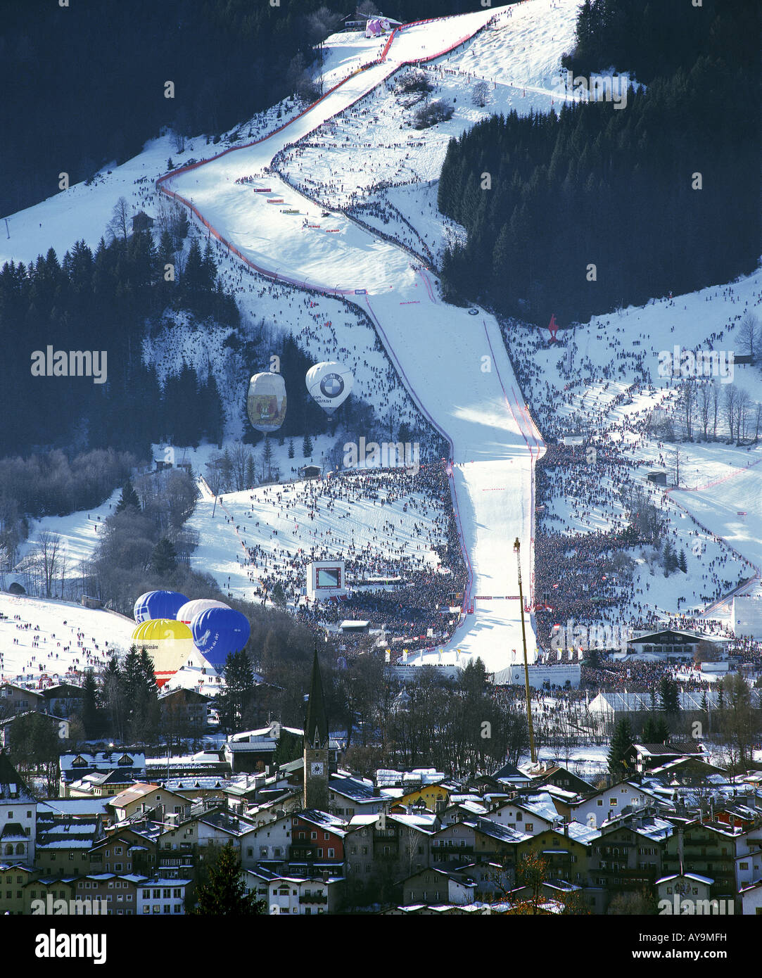 DOWNHILL SKIING COMPETITION IN KITZBUEHEL, AUSTRIA - Stock Image
